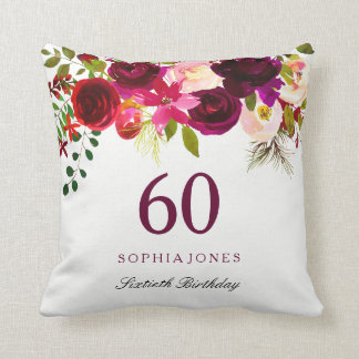 Burgundy Red Floral Boho 60th Birthday Gift Cushion