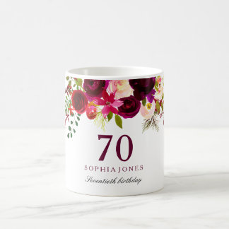Burgundy Red Floral Boho 70th Birthday Gift Coffee Mug