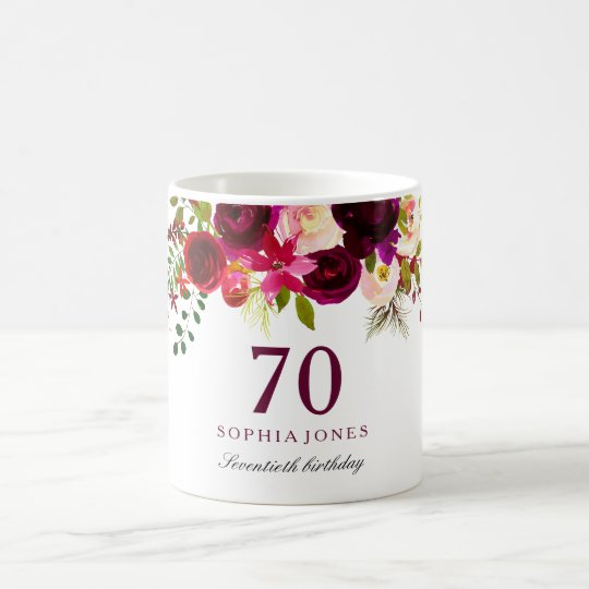 Burgundy Red Floral Boho 70th Birthday Gift Coffee