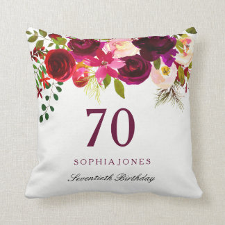 Burgundy Red Floral Boho 70th Birthday Gift Cushion