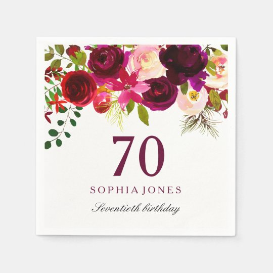 Burgundy Red Floral Boho 70th Birthday Party Paper
