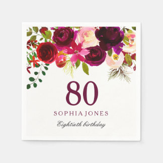 Burgundy Red Floral Boho 80th Birthday Party Disposable Napkins