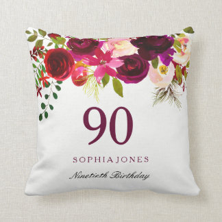 Burgundy Red Floral Boho 90th Birthday Gift Cushion