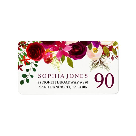 Burgundy Red Floral Boho 90th Birthday Party Label