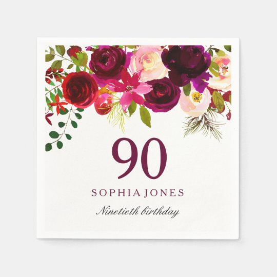 Burgundy Red Floral Boho 90th Birthday Party Paper