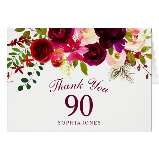 Burgundy Red Floral Boho 90th Birthday Thank You
