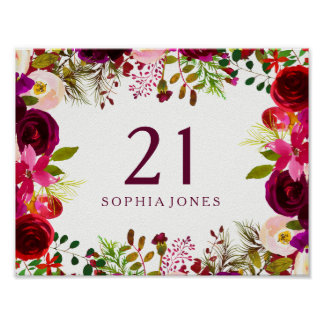 Burgundy Red Floral Boho Sign 21st Birthday Party