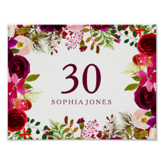 Burgundy Red Floral Boho Sign 30th Birthday Party