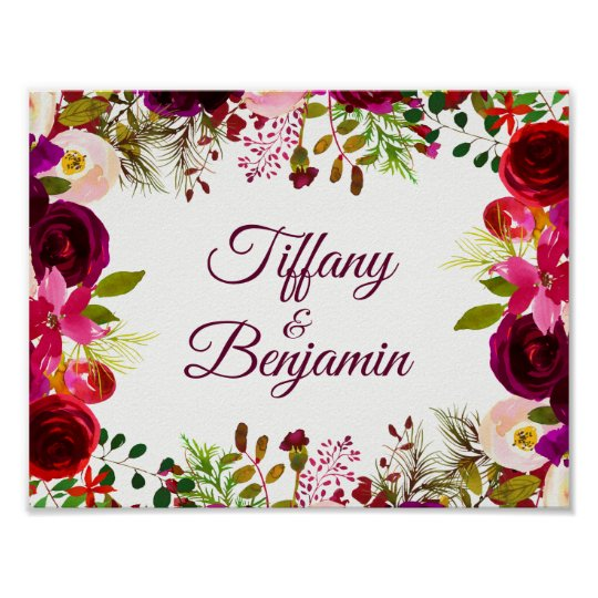 Burgundy Red Floral Boho Wedding Engagement Party Poster