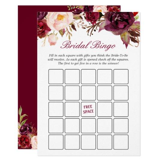 Burgundy Red Floral Bridal Shower Bingo Game Card