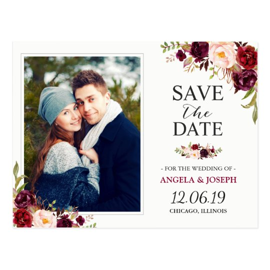 Burgundy Red Floral Chic Save the Date Photo