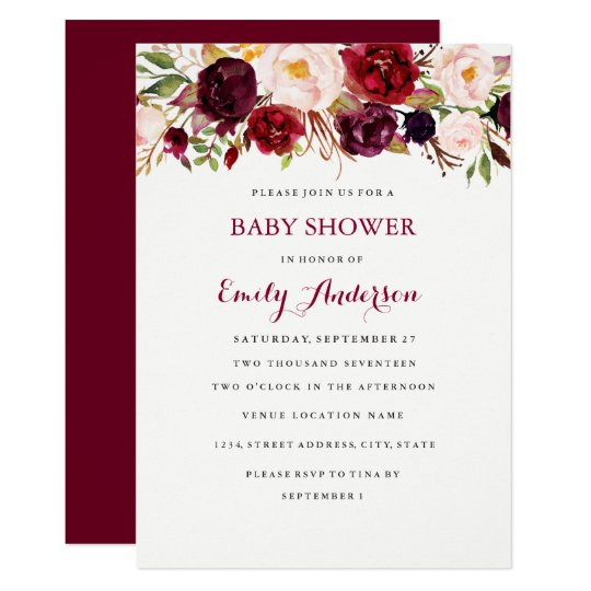 Burgundy Red Floral Fall Baby Shower Card