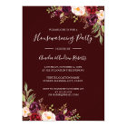Burgundy Red Floral Housewarming Party Card