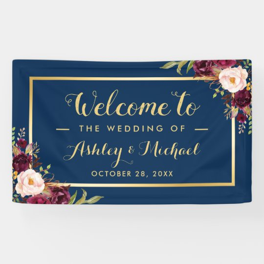 Burgundy Red Floral Navy Blue Gold Wedding Party