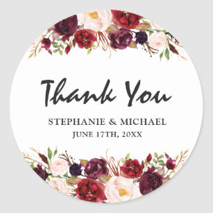 Burgundy Red Floral Rustic Boho Thank You Classic Round Sticker