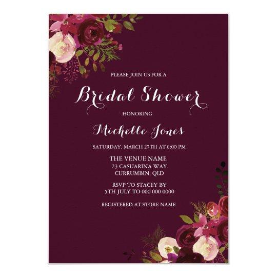 Burgundy Red Floral Spring Autumn Bridal Shower Card