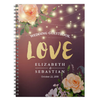 Burgundy Red Floral String Light Wedding Guestbook Notebook