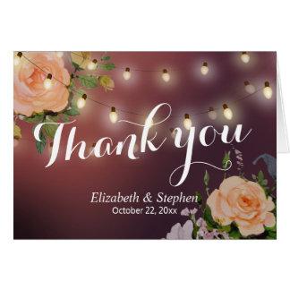 Burgundy Red Floral String Light Wedding Thank You Card