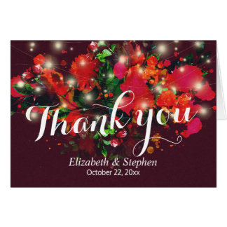 Burgundy Red Floral String Light Wedding Thank You Card