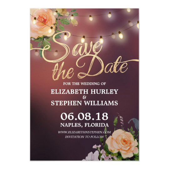 Burgundy Red Floral String Lights Save The Date
