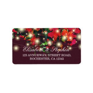 Burgundy Red Floral String Lights Wedding Address Address Label