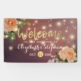 Burgundy Red Floral String Lights Wedding Banner
