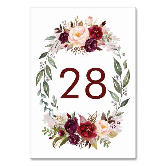 Burgundy Red Floral Wedding Table Number Cards