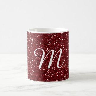 Burgundy Red Glitter Custom Monogrammed Basic White Mug