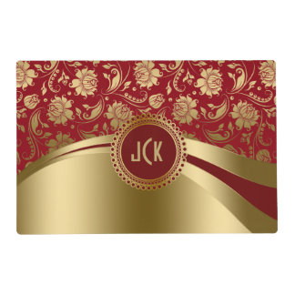 Burgundy Red & Gold Damask & Geometric Design Laminated Placemat