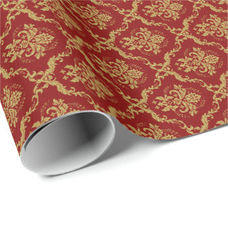 Burgundy Red &Gold Floral Damasks Pattern 2 Gift Wrapping Paper