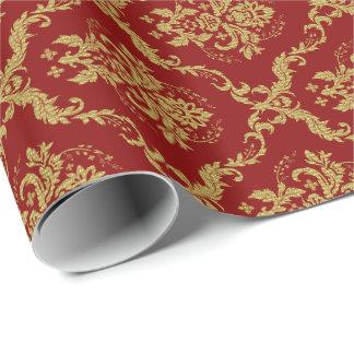 Burgundy Red &Gold Floral Damasks Pattern Gift Wrap