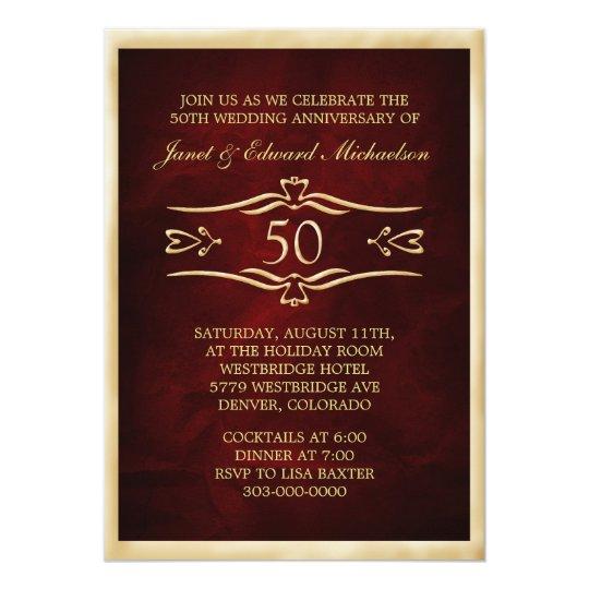 Burgundy Red Golden Anniversary Celebration Card