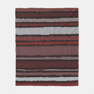 Burgundy Red Gray Mauve Taupe Stripes Pattern Fleece Blanket