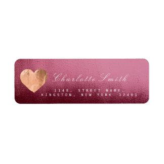 Burgundy Red Heart Pink Gold Return Address Labels