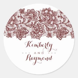 Burgundy Red Lace Elegant Wedding Classic Round Sticker