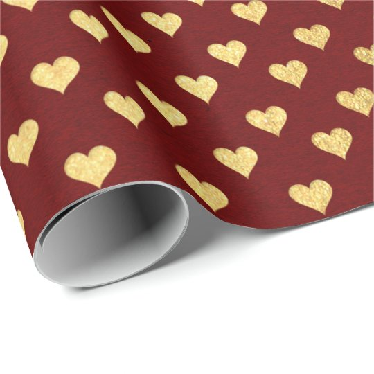 Burgundy Red Maroon Golden Hearts Valentine Wrapping Paper