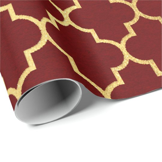 Burgundy Red Maroon Golden Quatrefoil Art Deco Wrapping