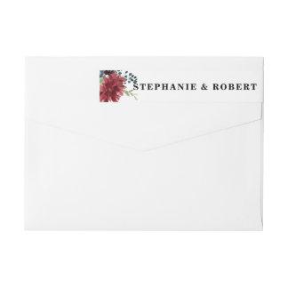 Burgundy Red Navy Floral Rustic Boho Address Label