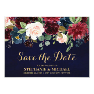 Burgundy Red Navy Floral Rustic Boho Save the date Card