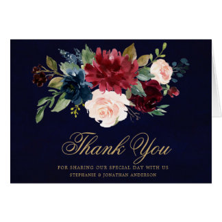 Burgundy Red Navy Floral Rustic Boho Thank You Card