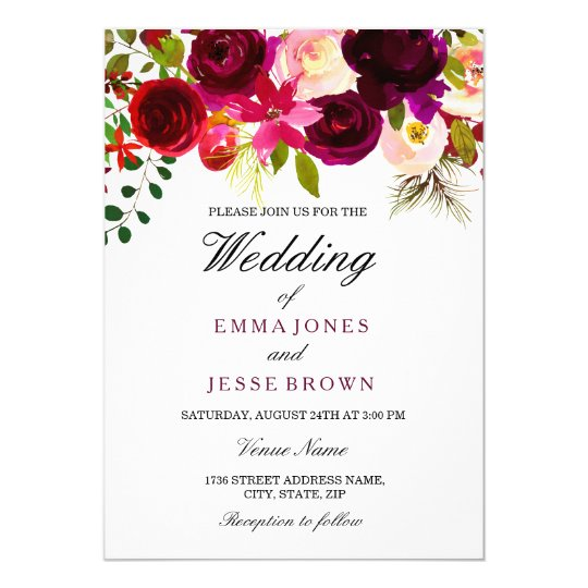 Burgundy Red Purple Floral Boho Wedding Invitation