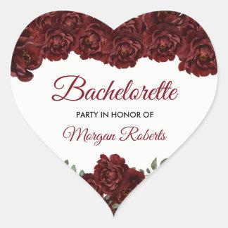Burgundy Red Rose Bachelorette Party Heart Sticker