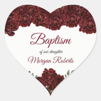 Burgundy Red Rose Flowers Baby Girl Baptism Heart Sticker