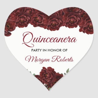 Burgundy Red Rose Quinceanera 15th Birthday Party Heart Sticker