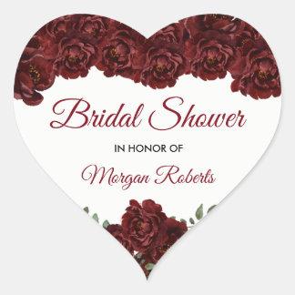 Burgundy Red Rose Romantic Bridal Shower Heart Sticker
