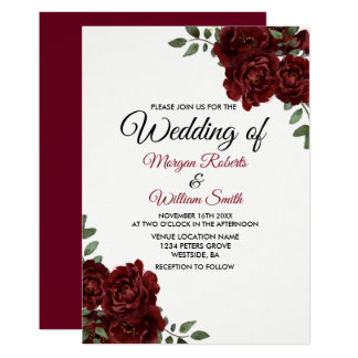 Burgundy Red Rose Romantic Wedding Invitation