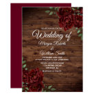 Burgundy Red Rose Rustic Wood Wedding Invitation