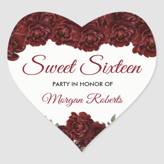 Burgundy Red Rose Sweet 16 16th Birthday Party Heart Sticker