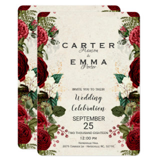 Burgundy Red Roses and Leaves Nature Wedding Card