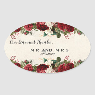Burgundy Red Roses and Leaves Vintage Thank You Oval Sticker